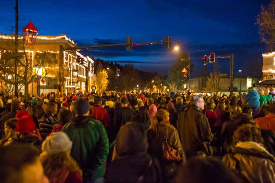 festival of lights showing bright Christmas lights on downtown buildings in Ashland Oregon