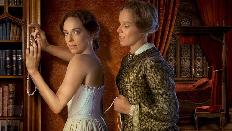 play at oregon shakespeare festival showing two ladies who are actresses in play Fingersmith