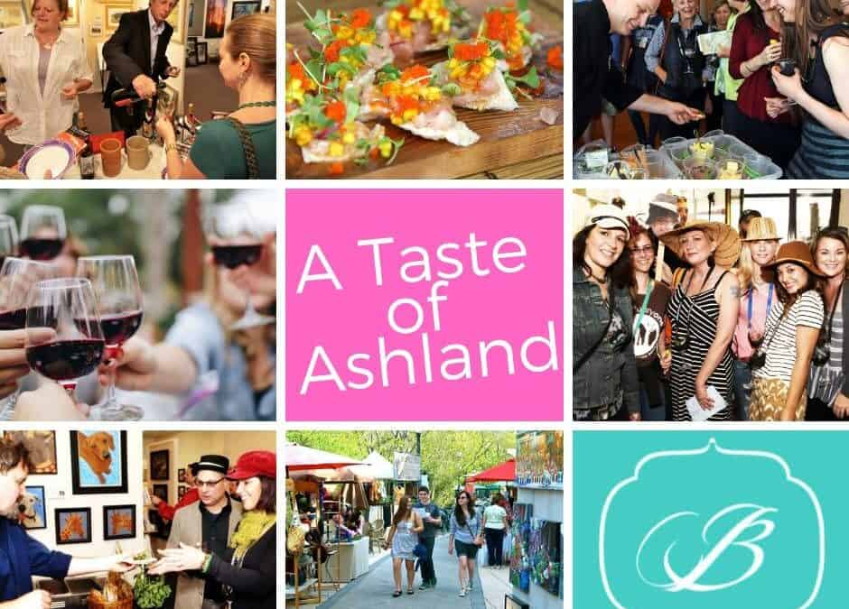 photos of a taste of ashland event which happens annually in ashland oregon showing people drinking wine, eating food, red wine glasses cheering, groups of friends celebrating and the bayberry inn logo