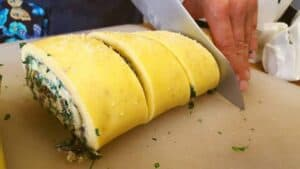 preparing egg roulade at the bayberry inn for breakfast