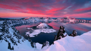 sunset and snow at Crater Lake National Park Oregon